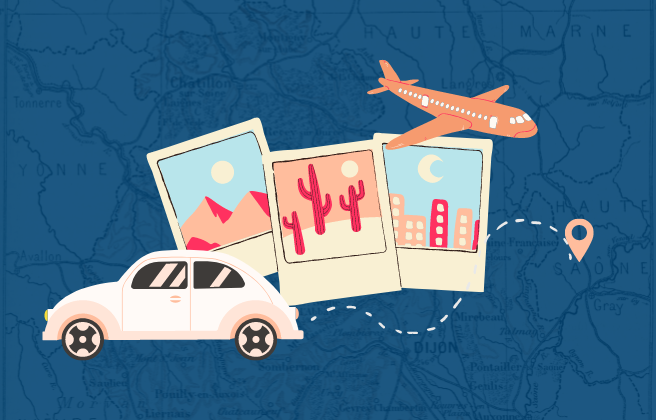 Travel road map with airplane and car