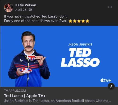 Ted Lasso Facebook Post