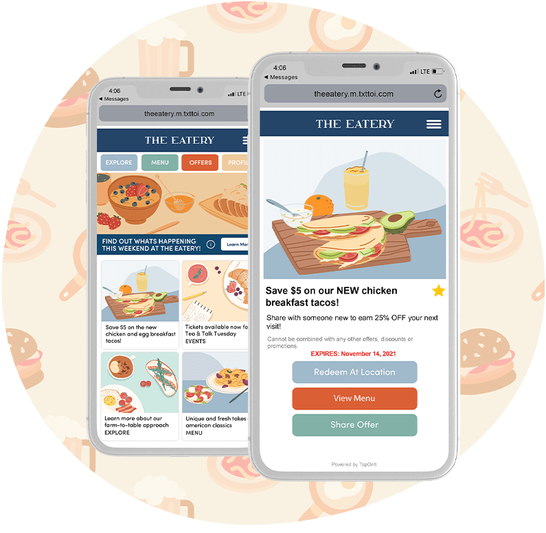 Food and Beverage Marketplace and Offer Phones