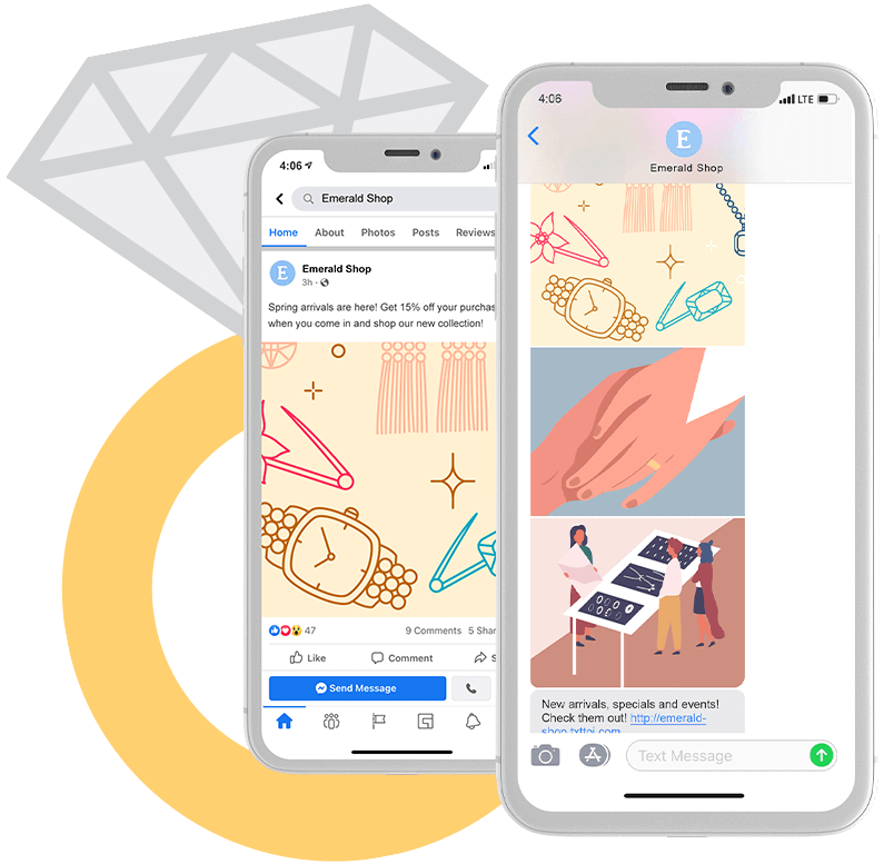 Jewelry Social Share and Text Thread Phones