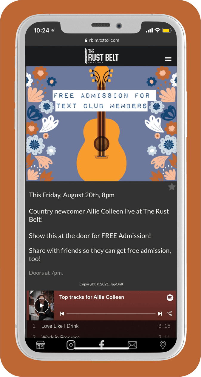 Rust Belt Case Study Offer Image Phone with Spotify